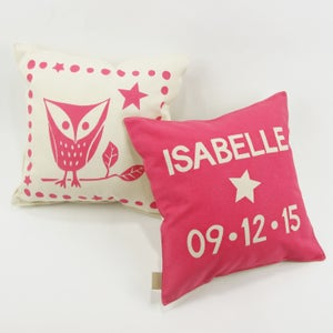 Image of Personalised Owl Print Cushion