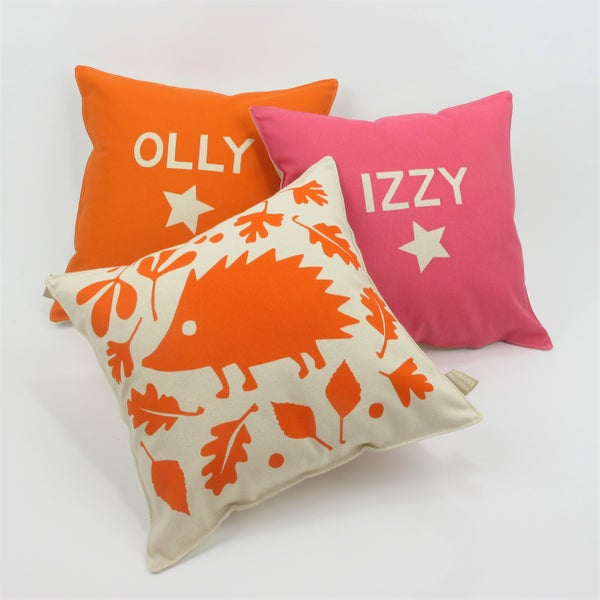 Image of Personalised Woodland Hedgehog Cushion
