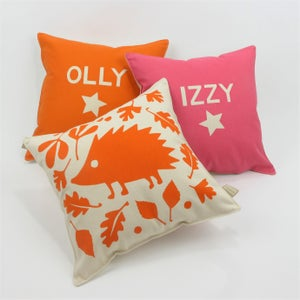 Image of Personalised Woodland Hedgehog Cushion