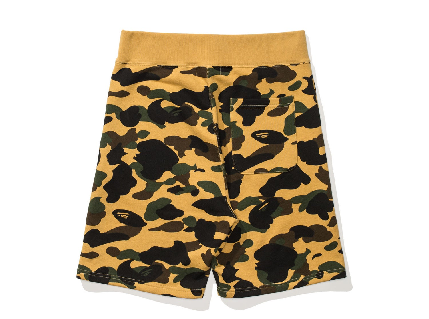 Image of BAPE 1ST CAMO SWEAT SHORTS 'Yellow Camo'