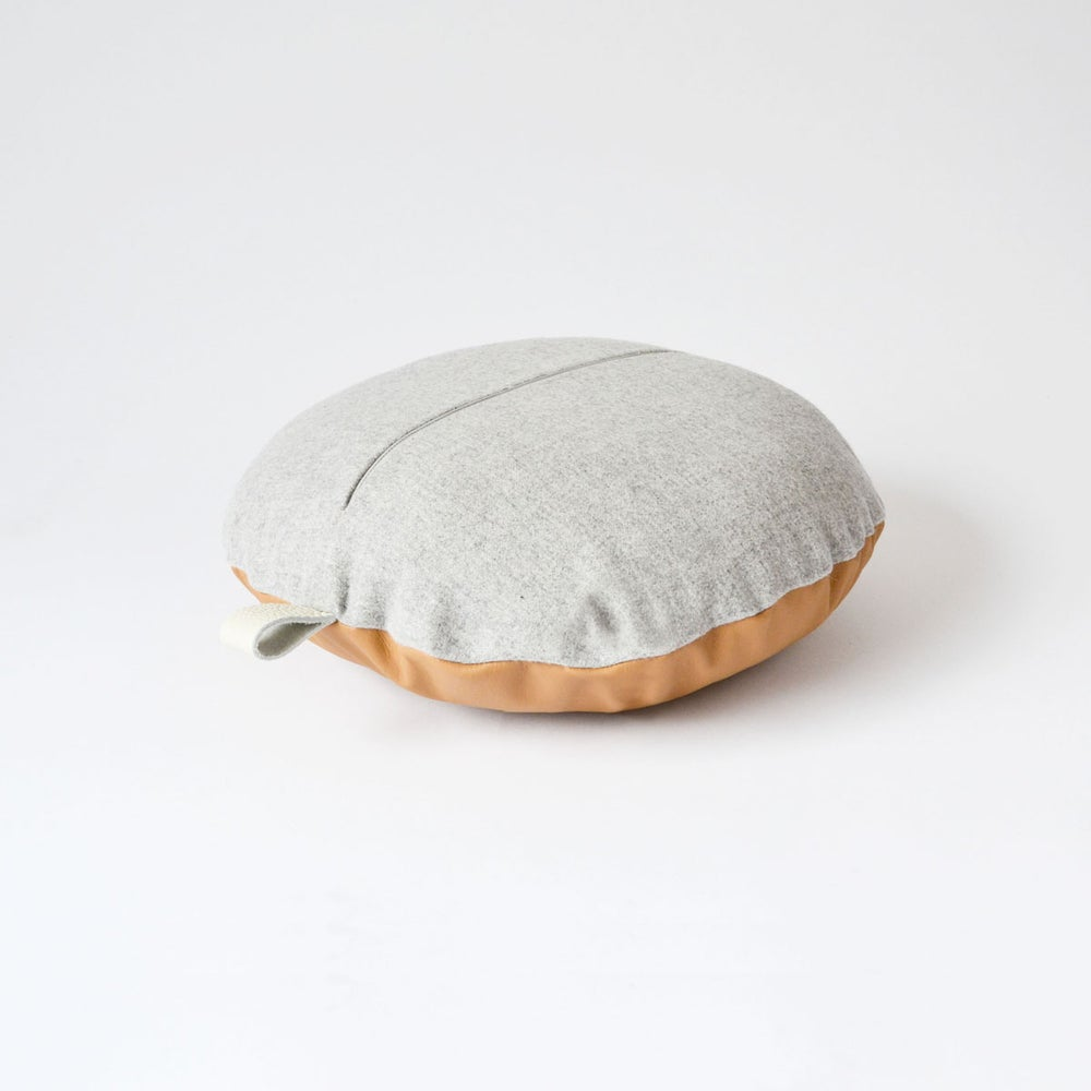 Image of Leather Tab Cushion Cover - Tan Round with Felt