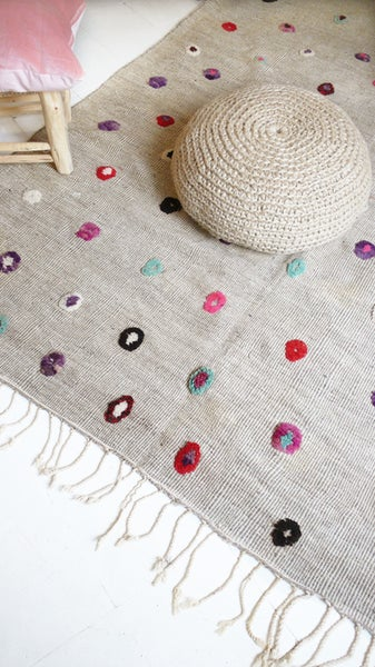 Image of Moroccan Wool Rug - Circles colored wool