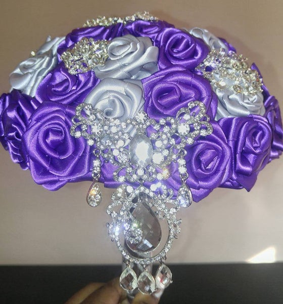 Image of PURPLE AND SILVER SATIN ROYAL BROOCH BOUQUET