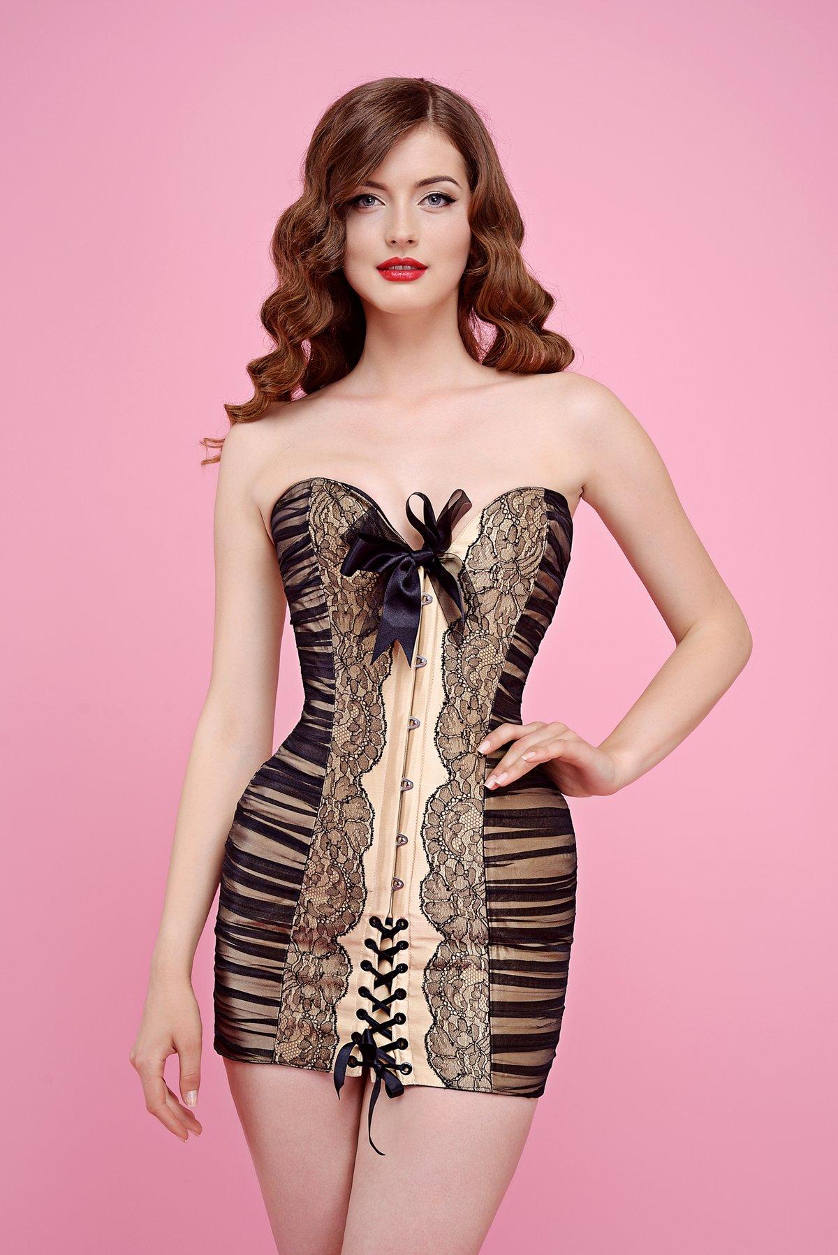 LACE & CREAM SHORT DRESS BEIGE TAFFETA