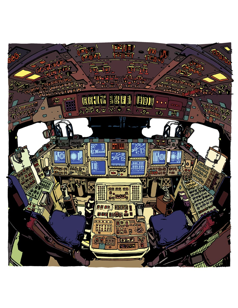 Image of Space Shuttle cockpit print