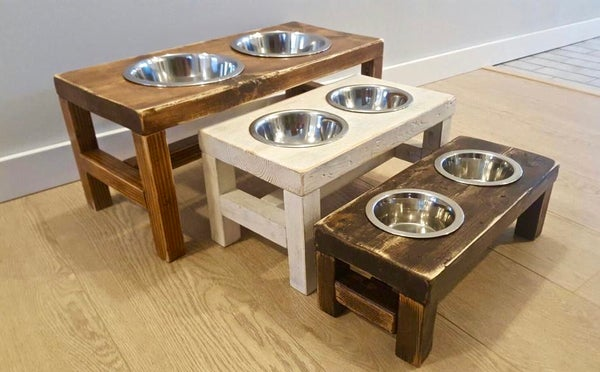 Image of Rustic Raised Dog Bowl Feeders