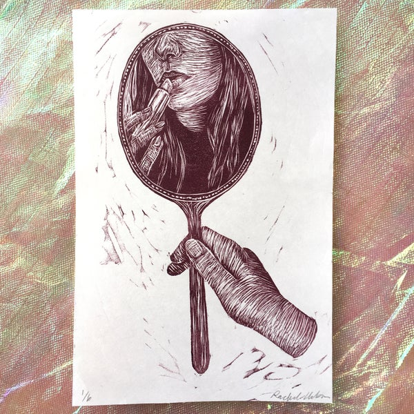 Image of Vanity ~ relief print and other varied mini prints