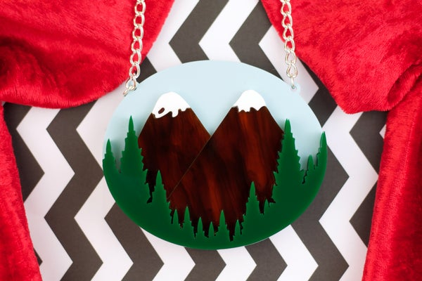 Twin Peaks Welcome Sign Necklace  - Black Heart Creatives