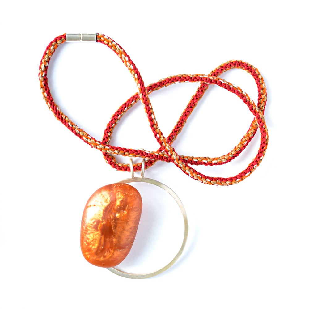 Image of Large Red + Gold Resin Pebble Necklace