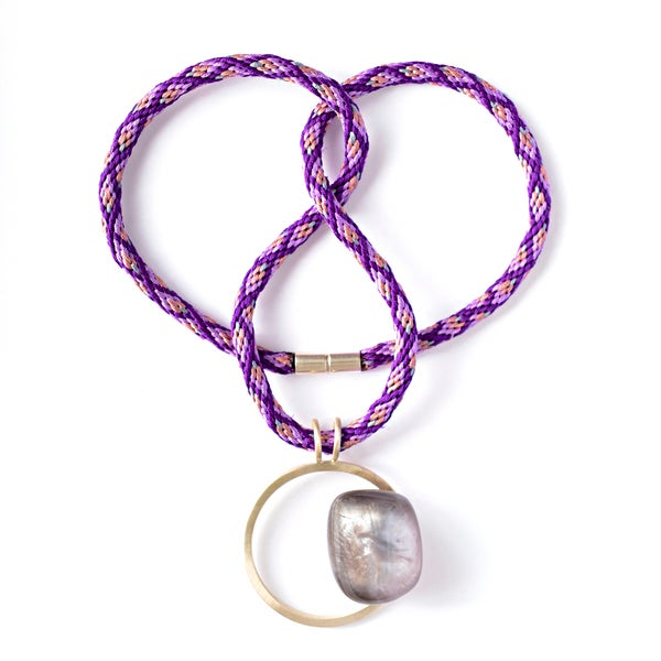 Image of Medium Silver + Purple Resin Pebble Necklace