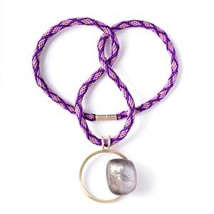Image of Medium Silver + Purple Resin Pebble Necklace