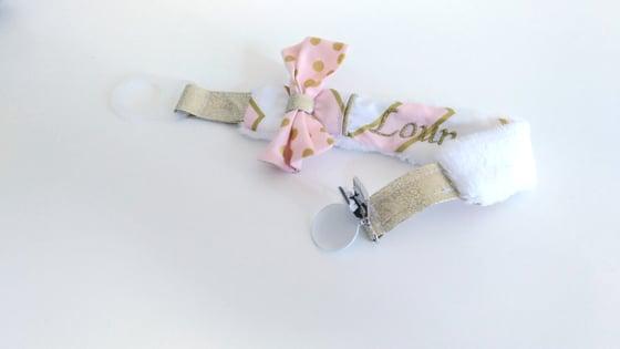 Image of Attache sucette à personnaliser chevrons rose et or
