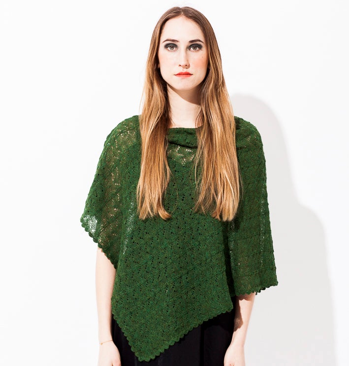 Image of Lace knitted poncho        Green melange