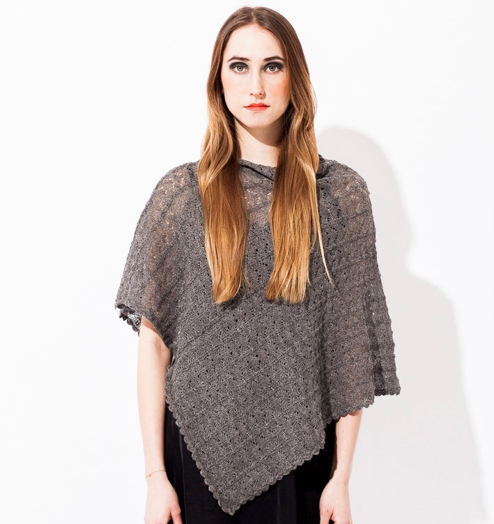 Image of Lace knitted Poncho                                 Grey