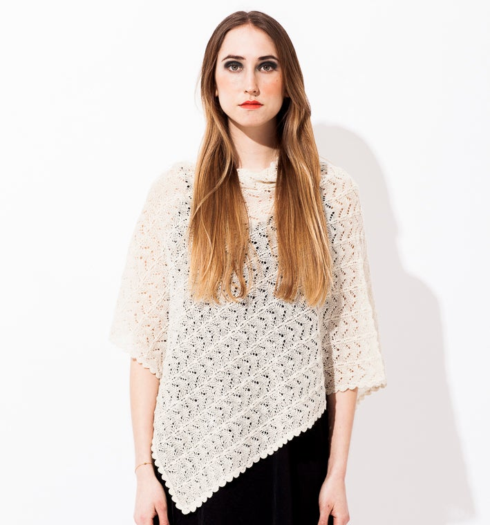 Image of Lace knitted Poncho                          Off white