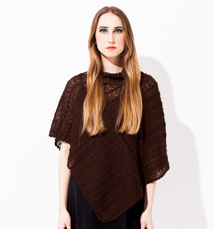 Image of Lace knitted Poncho                         Aubergine