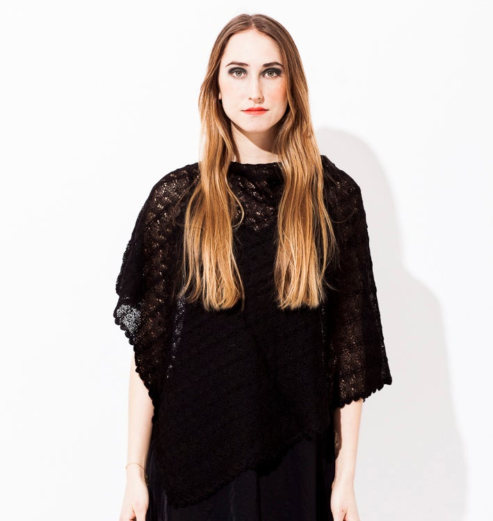 Image of Lace knitted Poncho                               Black