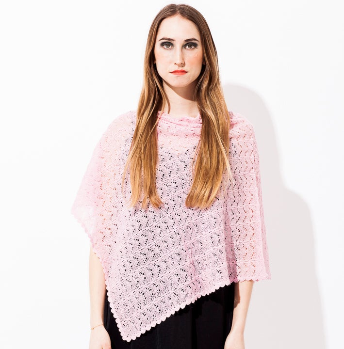 Image of Lace knitted poncho        Pink