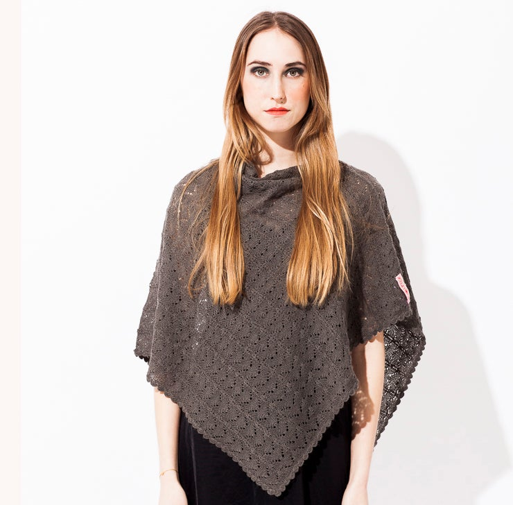 Image of Lace knitted poncho    Graphite