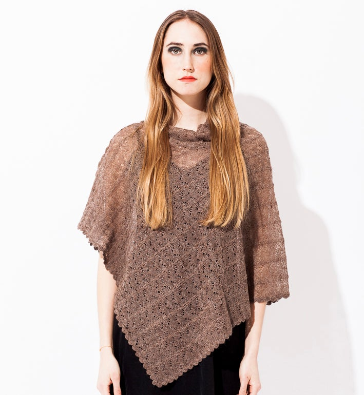 Image of Lace knitted Poncho                                                        Sand