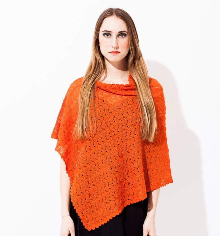 Image of Lace knitted poncho        Orange
