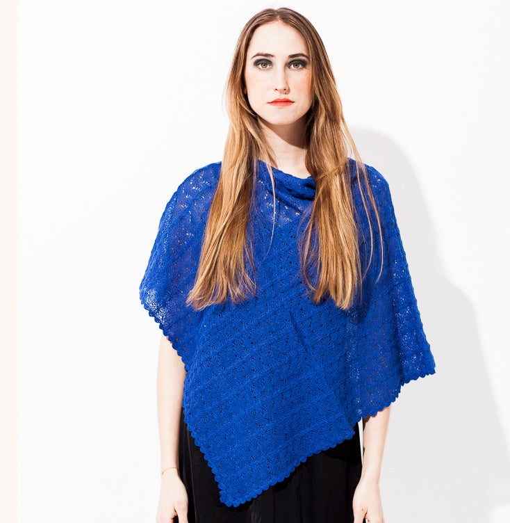 Image of Lace knitted poncho    Electric Blue