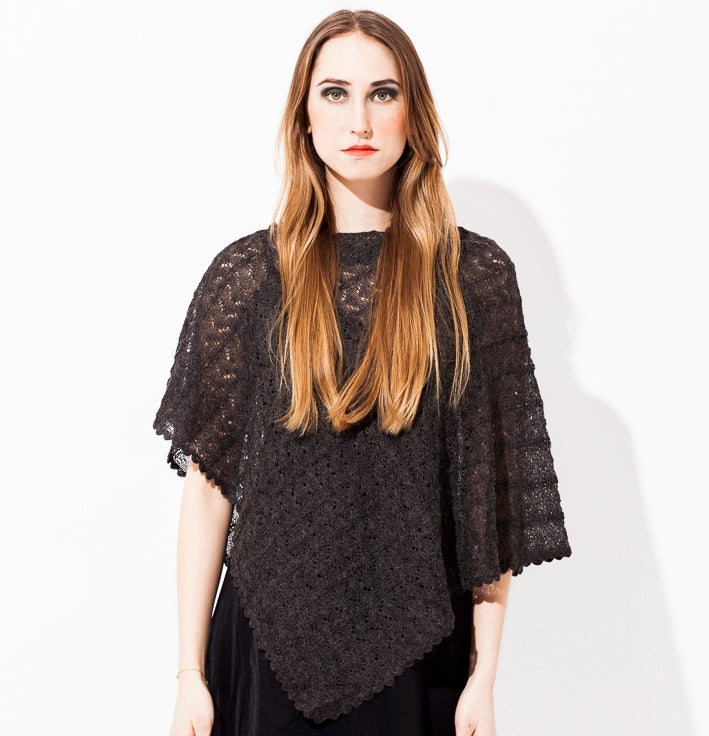 Image of Lace knitted Poncho                                 Dark Grey
