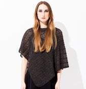 Image of Laceknitted Poncho                                 Dark Grey