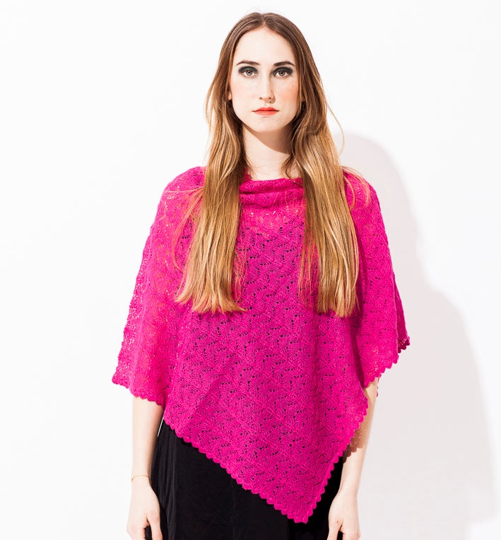Image of Lace knitted Poncho                                   Cerise