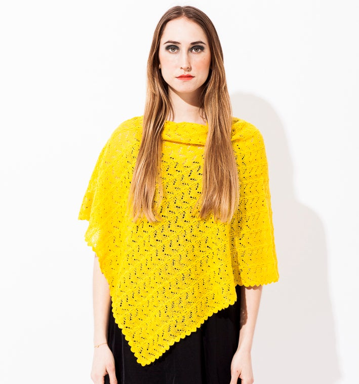 Image of Lace knitted poncho             Lemon
