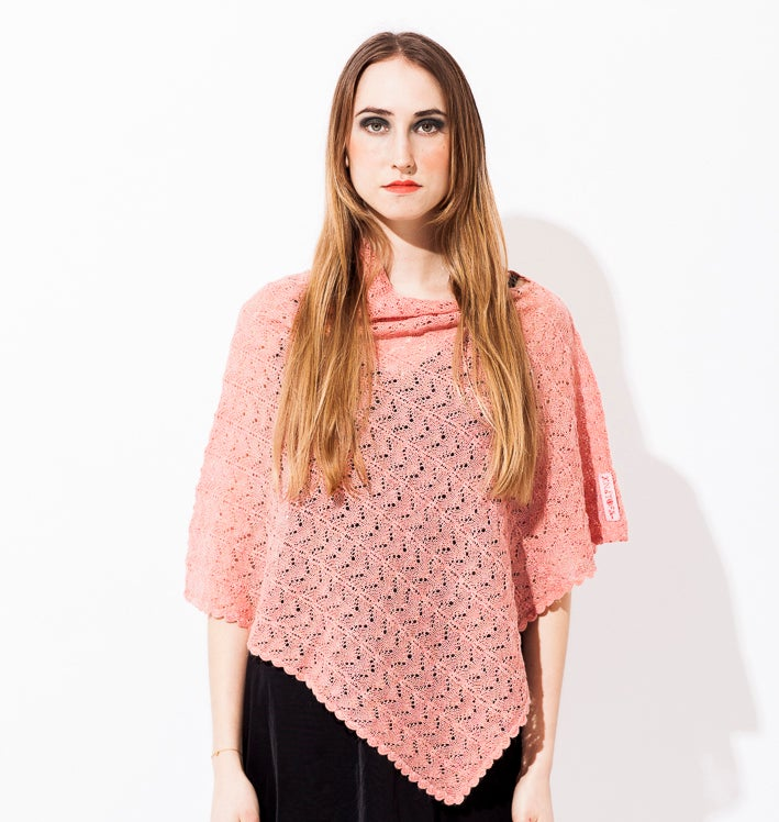 Image of Lace knitted poncho    Salmon