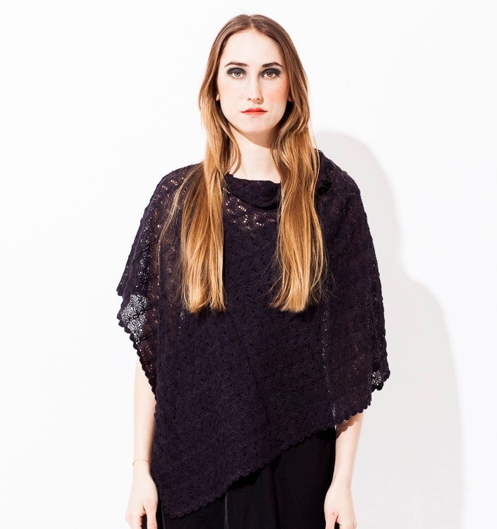 Image of Lace knitted poncho        Dark Purple