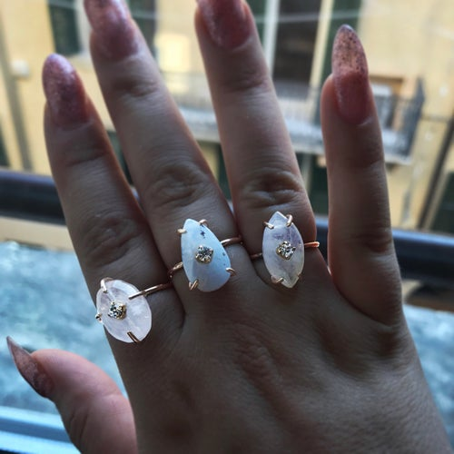 Image of Marquise Rainbow Moonstone Ring