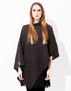 Image of Laceknitted BIG Poncho           Dark Grey