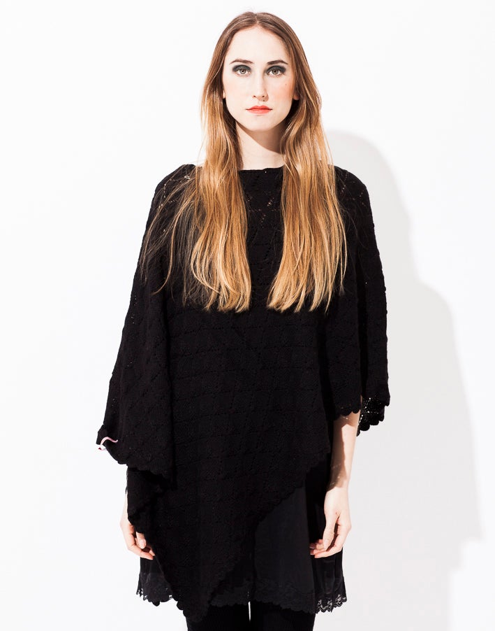 Image of Lace knitted Poncho Large Black