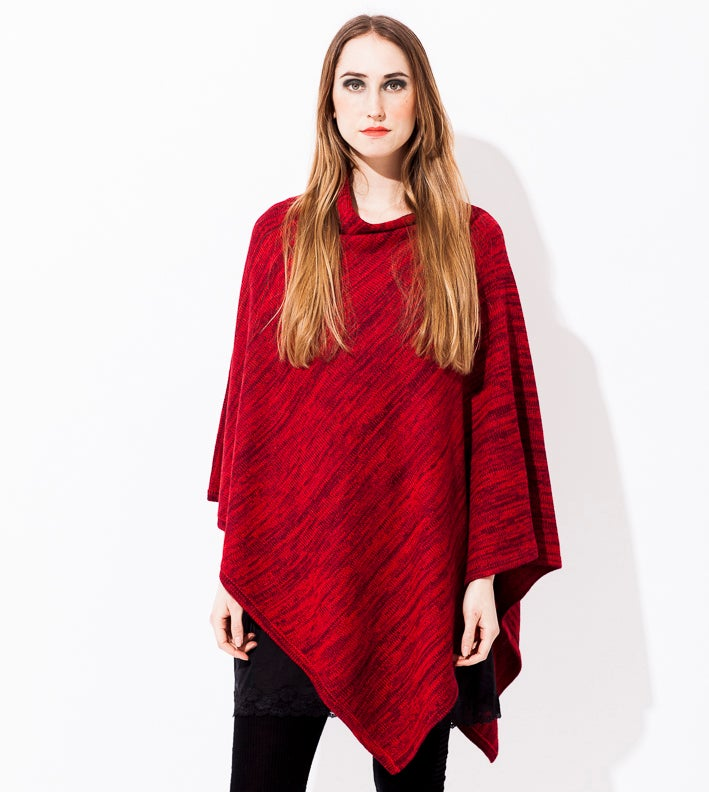 Image of Melange knitted poncho Red
