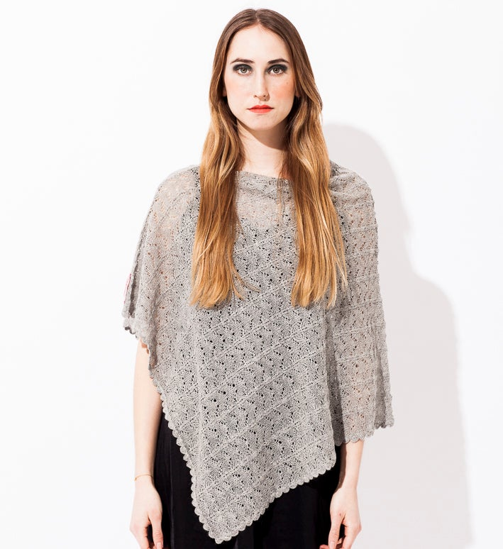 Image of Lace knitted poncho     Light Grey