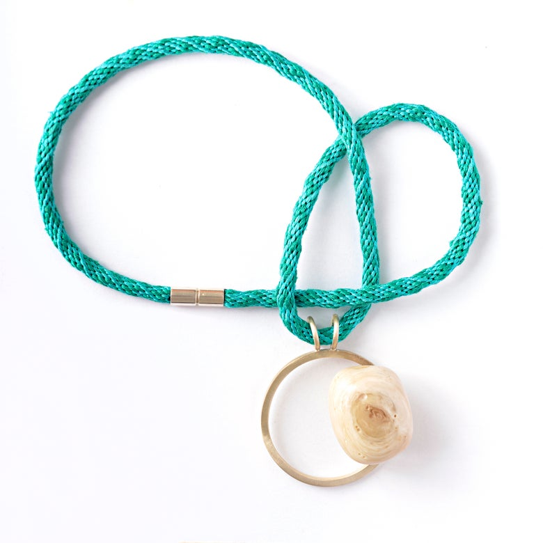 Image of Medium Turquoise + Cream + White Resin Pebble Necklace