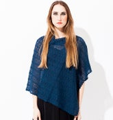 Image of Laceknitted Poncho                               Petrolblue