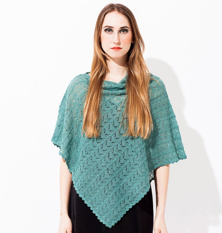 Image of Lace knitted poncho    Pale Turquoise