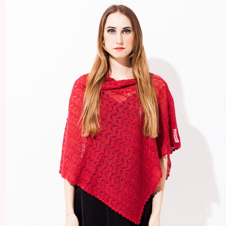 Image of Lace knitted Poncho                                   Red Melange