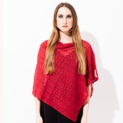 Image of Laceknitted Poncho                                   Red Melange