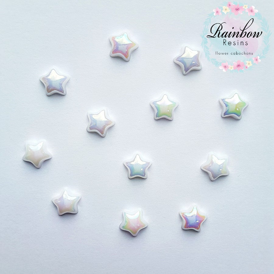 Image of White 12mm AB flatback stars x 12