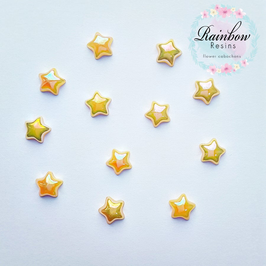 Image of Yellow 12mm AB flatback stars x 12