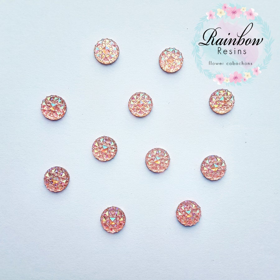Image of Baby pink 10mm crystal round flatback x12