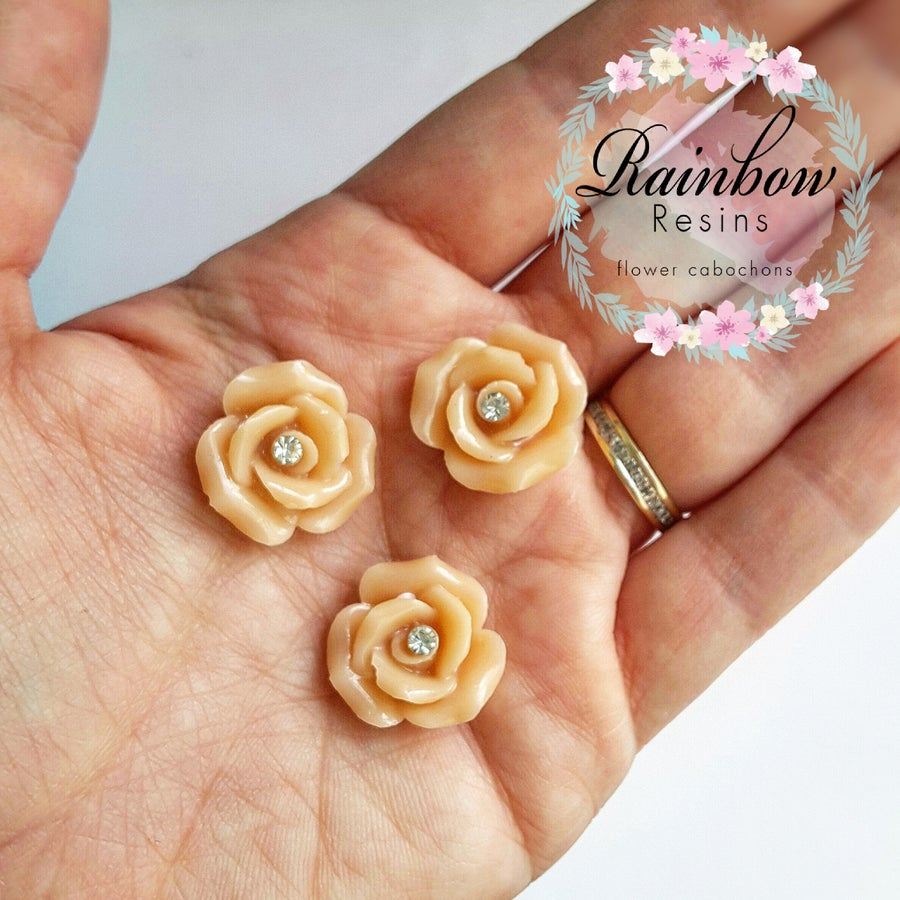 Image of Nude diamante roses x 5