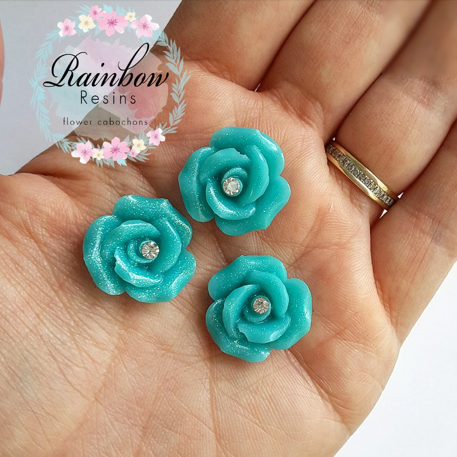 Image of Teal sparkle diamante roses x 5