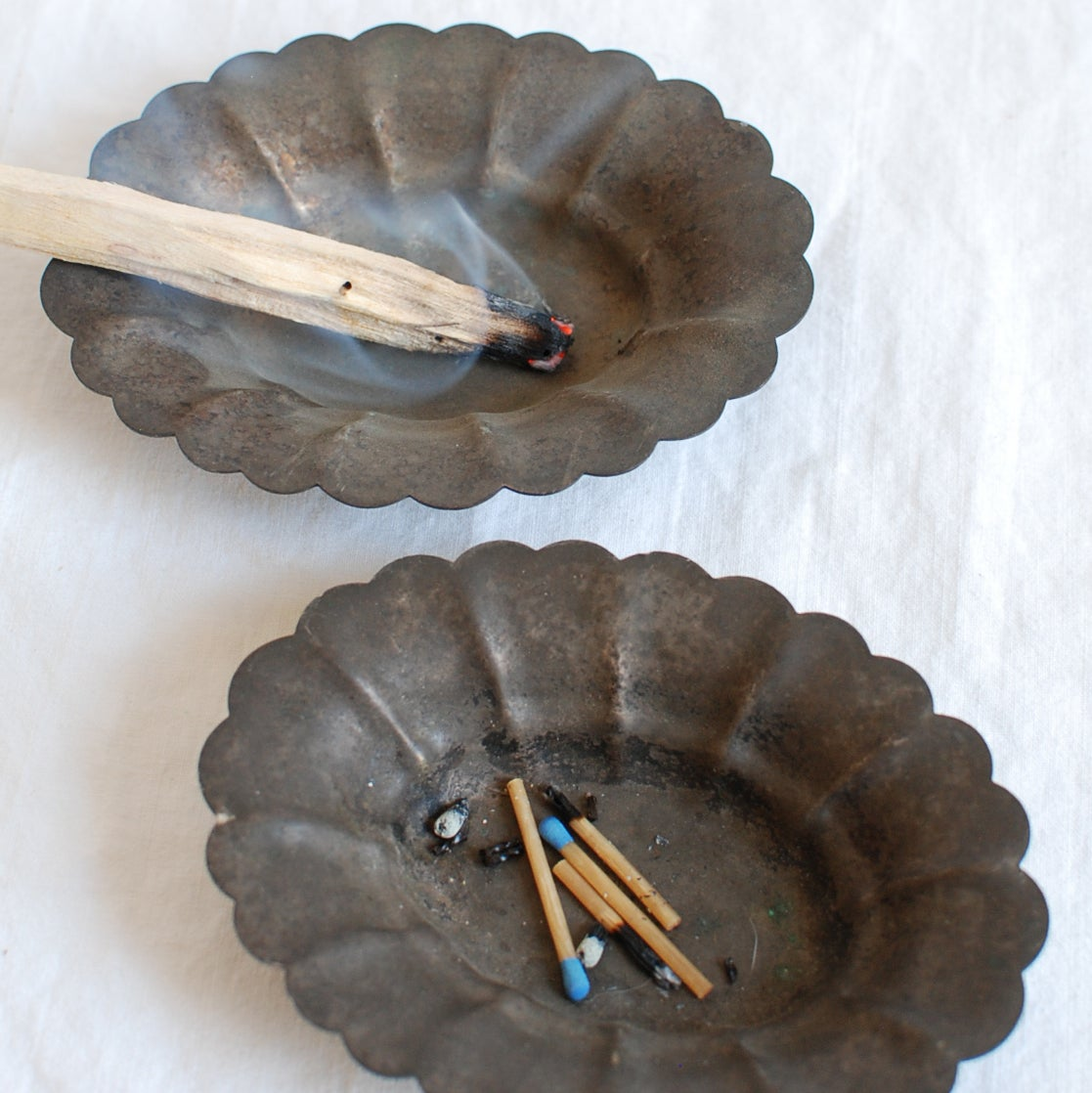 pair of scalloped trays