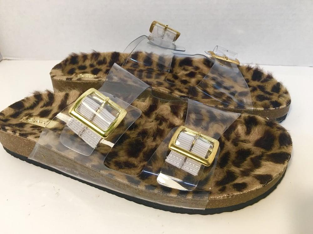Image of Cheetah Fur Strap Slide on Sandals