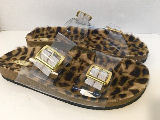 Image of Cheetah Fur Strap Slide on Sandals